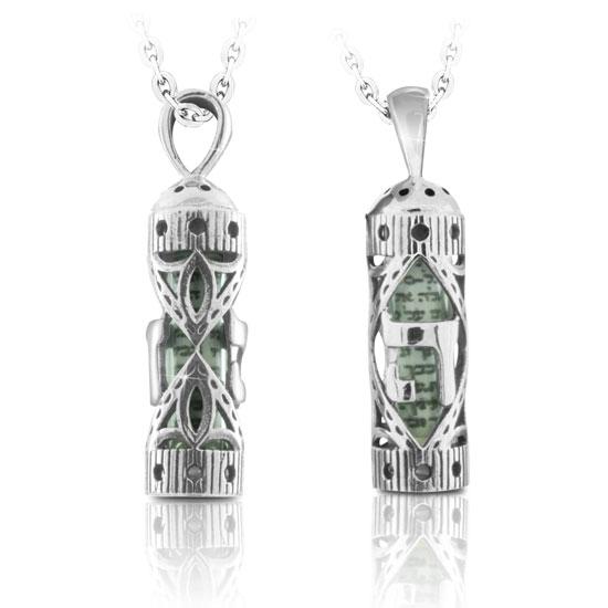 מתנה לגבר שרשרת מזוזה מכסף 925 עגולה עם ה מעוצבת במרכזה ועם עיטורים מדהימה לגבר אישה! עם שרשרת 45 סמ מכסף.