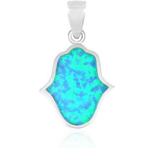 שרשרת חמסה ( 1.9 * 1.6 סמ ) מכסף 925 משובצת אבן אופל כחולה ועיטורים