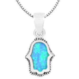 שרשרת חמסה מכסף 925 משובצת אבן אופל כחולה ועיטורים. מבצע מהיצרן לצרכן