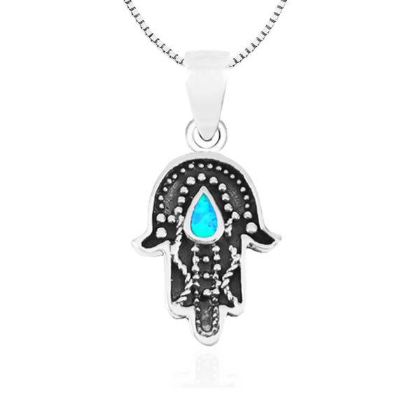 שרשרת חמסה מכסף 925 משובצת אבן אופל כחולה בצורת טיפה. מחיר מבצע מיוחד כולל שרשרת כסף