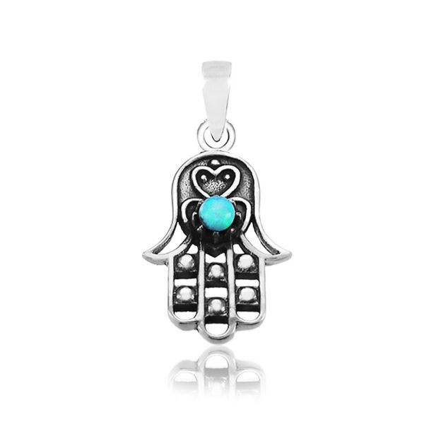 שרשרת חמסה מקסימה ( 1.9 * 1.2 סמ ) ועדינה מכסף 925 עם אבן אופל כחולה כחולה. עיטור לב קטן ומקסים בחזית וגב התליון. כולל שרשרת מכסף 45 סמ