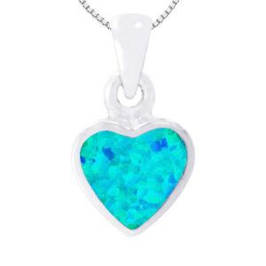 שרשרת לב ( 1 * 0.92 סמ ) מכסף 925 משובצת אבן אופל כחולה. כולל שרשרת כסף אמיתי 45 סמ
