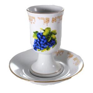 גביע קידוש מהודר כוס קידוש פורצלן