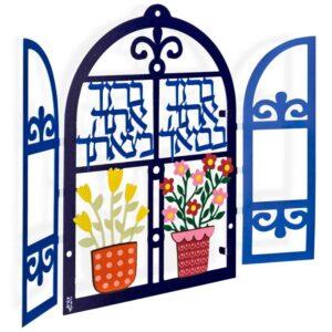 מתנה לתלייה בבית: חלון הברכות! תכשיט קיר - פריט קישוט ייחודי - דבוקת אותיות במגזרת נירוסטה