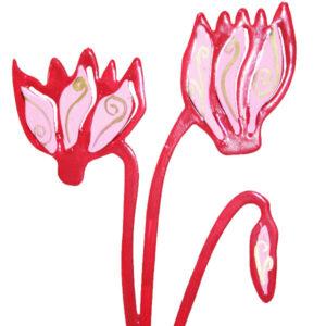 מעמד סטנד פרחי רקפות ממתכת קטן ( 10*13 ס