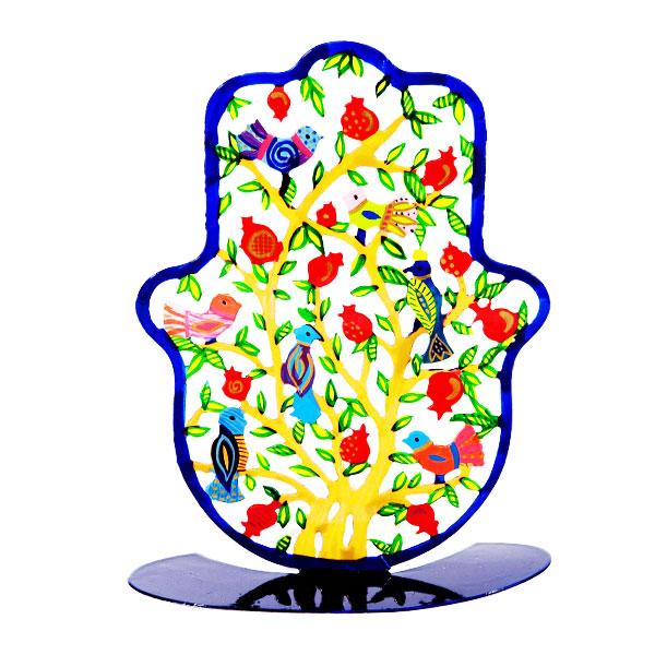 """סטנד חמסה גדולה ומרשימה ( 23*18 ס""""מ ) ממתכת בחיתוך לייזר צבועה ביד """"רימונים וציפורים"""" - יאיר עמנואל. החמסה עשויה מתכת בחיתוך לייזר וממצוירת בצבעי אקריליק בציור יד. מעוצב ומיוצר ע""""י האמן יאיר עמנואל. מחירי מבצע מיוחדים באתר מתנות ישראל"""