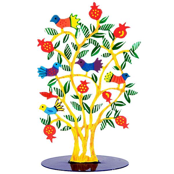 """סטנד מהמם ( 24*13 ס""""מ ) מגזרת מתכת צבועה בחיתוך לייזר מדויק עם ציור בעבודת יד עץ רימונים עם ציפורים בשלל צבעים! פריט ייחודי ומרשים עם איכות גימור מעולה! מעוצב ומיוצר ע""""י האמן הירושלמי יאיר עמנואל. מחיר מבצע מיוחד מתנות ישראל"""