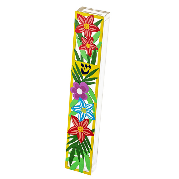 """בית מזוזה """"פרחים"""" - מאקרילי שקוף עם מגזרת מתכת צבעוני של פרחים בשלל צבעים עם מסגרת צהובה - עבור לקלף באורך 15 ס""""מ - מעוצב ומיוצר ע""""י אמנית היודאיקה דורית קליין. מחיר מבצע מתנות ישראל"""