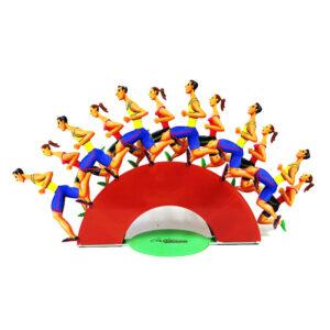 """סטנד """"רצים בשביל הבריאות"""" Run For Height 20cm (7.9"""") X Width 38cm (15"""") X Depth 10.5cm (4.1"""")   Weight 1 KG סטנד מתכת צבעוני בעבודת יד מהמם בצורת פסל חיתוך מתכת עצמאי עם שתי קבוצות רצים, זכר ונקבה. הרצים ממוקמים בשתי שכבות, בדומה לפסלי הקירות הגדולים של גרשטיין. לרוץ לחופש שלך הוא אחד משני האובייקטים הקטנים בשכבה היחידה, עם שישה רצים על כל שכבה, אנו מקבלים תחושה של תנועה וכוח, שתמיד בולטת בעבודותיו של גרשטיין. חתיכה זו יכולה להתאים בקלות לכל שולחן או מדף בגודל סטנדרטי."""