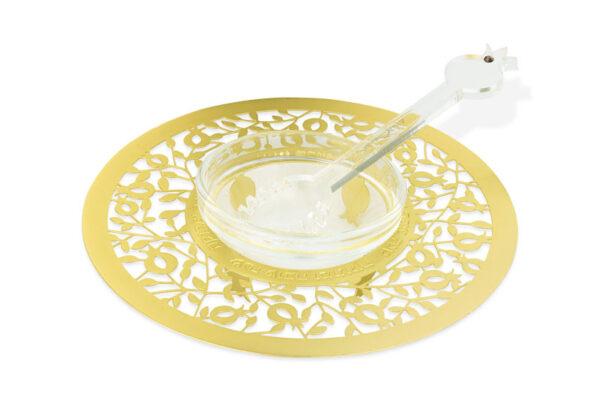 """דבשיות זהב בעיצובים שונים - כלי לדבש ( 15 ס""""מ ) במגזרת רימונים קטנים מנירוסטה עם ציפוי זהב. מעוצב ומיוצר ע""""י אמנית היודאיקה דורית קליין. מחיר מבצע מתנות ישראל"""