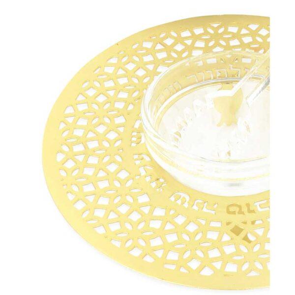 """דבשיות זהב בעיצובים שונים - כלי לדבש ( 15 ס""""מ ) במגזרת רימונים קטנים מנירוסטה עם ציפוי זהב. עם הכיתוב: """"חדש עלינו את השנה הזאת"""" מעוצב ומיוצר ע""""י אמנית היודאיקה דורית קליין. מחיר מבצע מתנות ישראל"""