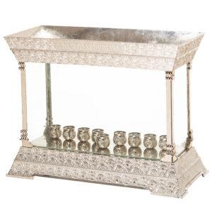 המתנה המושלמת לחנוכה!חנוכייה קישוטית מהודרת וגדולה בגימור כסף דלוקס 31x39 ס