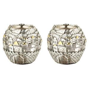 זוג פמוטי פולירייזן בצורת כדור עם עיטורים ירושלים ( 8 ס
