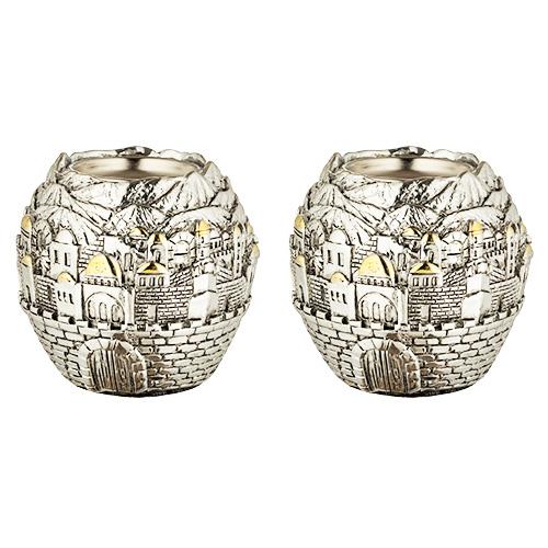 """זוג פמוטי פולירייזן בצורת כדור עם עיטורים ירושלים ( 8 ס""""מ ) מהממים. ציפוי זהב להדגשת אלמנטים. מחיר מבצע מיוחד!"""